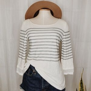 • ANTHROPOLOGIE • little yellow button striped top